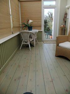 Green pastel limed wooden floor