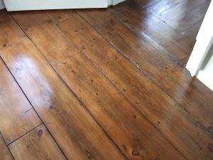 sanded and stained very old pine floor