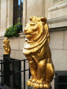Golded cast iron lion railing
