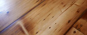Close up of sanded and finished Victorian pine floor