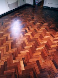 Stunning reclaimed mahogany floor fitted sanded and lacquered